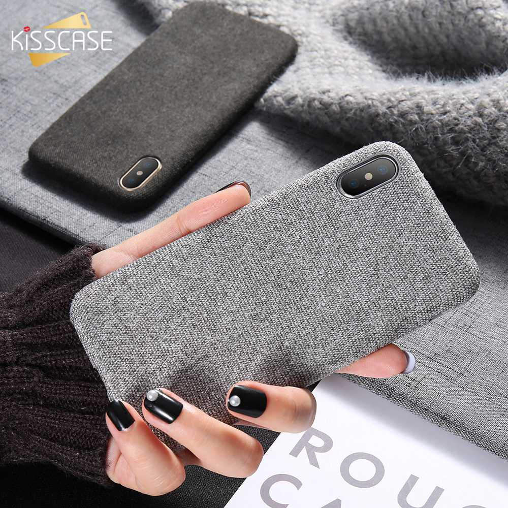 KISSCASE Phone Case For iPhone X 8 7 6s 6 Luxury Cloth Texture Soft Case For iPhone XR XS