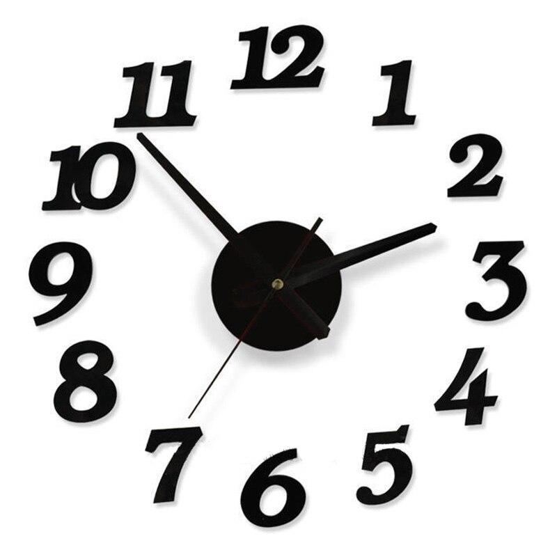45X45 cm Qualité cristal acrylique intéressante combinaison d'horloge diy mur numérique horloge bref quieten Meilleure décoration de la maison cadeau