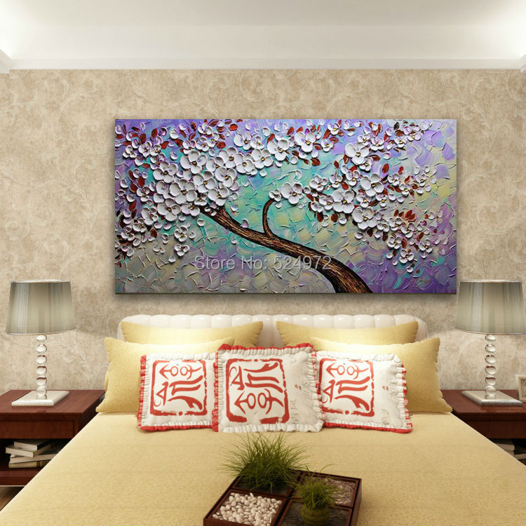 100 Hand Painted Modern Home Decor Wall Art Picture Purple Green White Cherry Tree Thick Palette