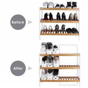 Image 5 - 10 sztuk plastikowe regulowane półki na buty organizator przechowywania, domu dwuwarstwowy uchwyt na półkę dla mężczyzn lub kobiet Organizer na buty biały