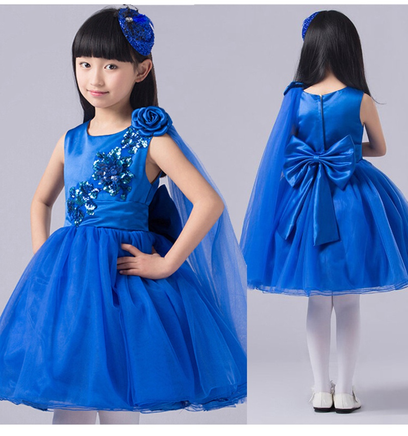 Kids Children Baby  Girls Ball Gown Bow  Princess Sequined Tutu Wedding Birthday Party Perfomance Dance Dress Vestidos S2854