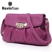 Kevin yun moda bolso ocasional de las mujeres de cuero genuino bolsas de mensajero bolso pequeño crossbody femenino diseñador de la marca