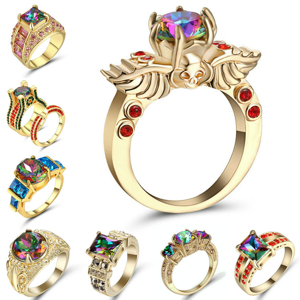 Mystic Rainbow CZ Multi-Color AAA Gold colour Ring Fashion Women Party Wedding Jewelry Size 8 Gift Wholesale