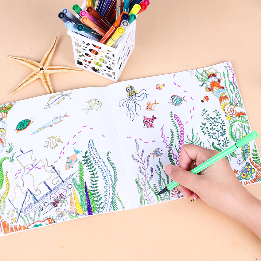 1 PC 24 Pages Lost Ocean Inky Adventure Coloring Book For Children Adult Relieve Stress Kill Time Painting Drawing Art Book