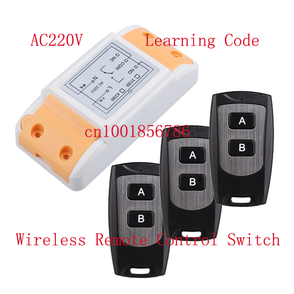 220V 1CH 1500W wireless remote control switch system 1 Receiver &3 Transmitter smart home Learning code adjustable 315/433MHZ