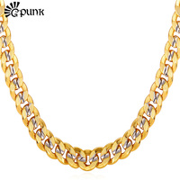 Men Curb Cuban Link Chain 18K Real Gold Platinum Plated 9MM HipHop Style High Quality Chain