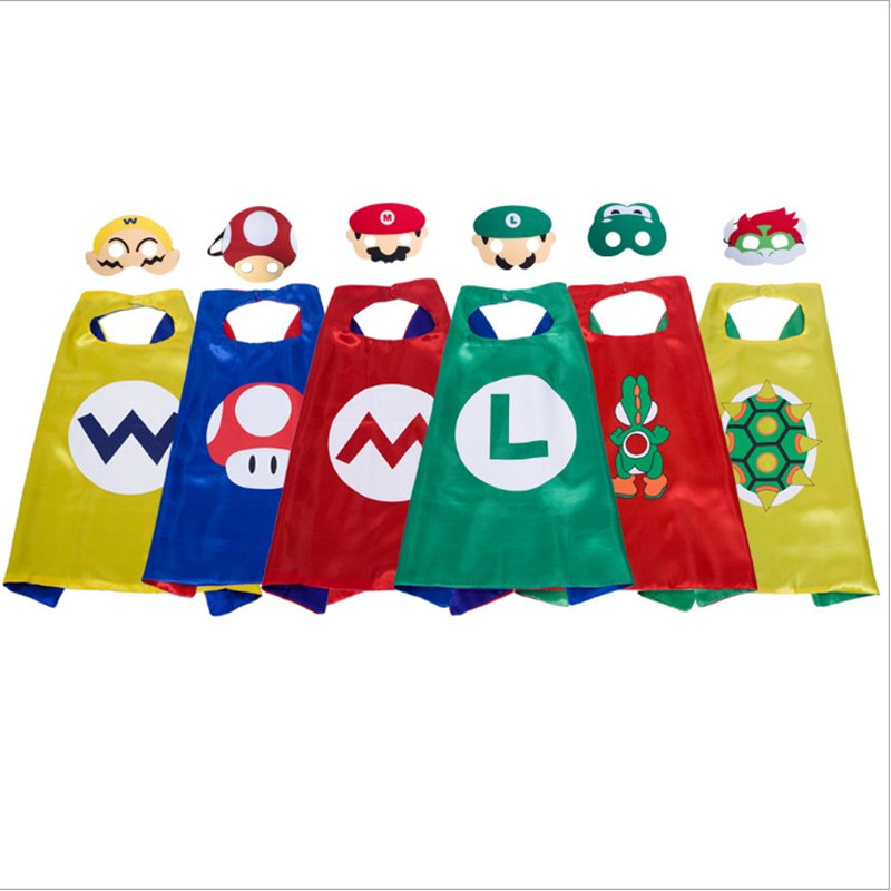 9821c600d162 Kids Super Mario Bros Costumes Boys and Girls Capes with Masks Party ...