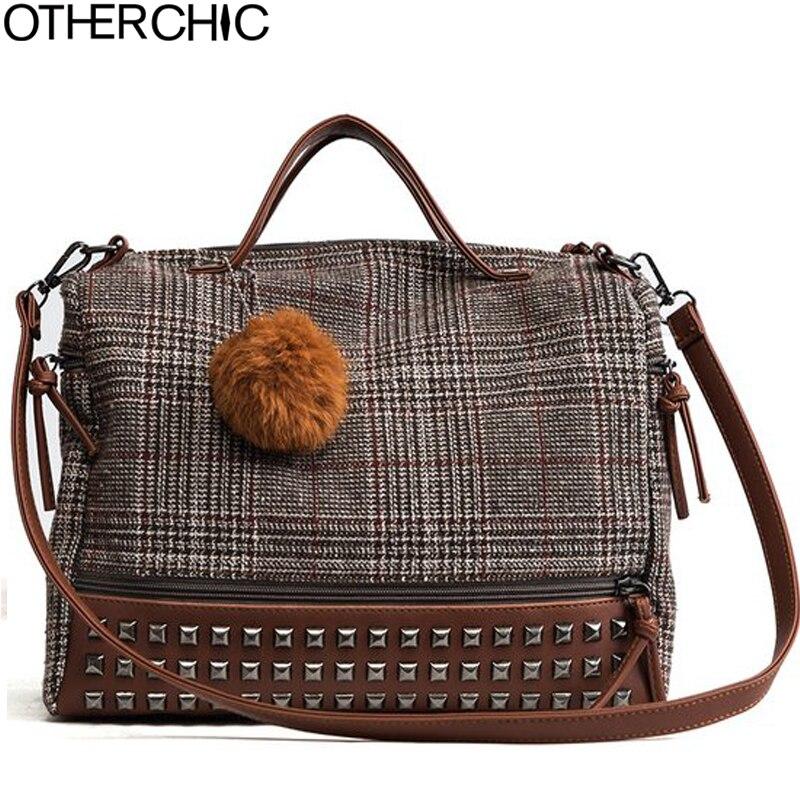 OTHERCHIC New Arrival Brand Women Handbag Retro Fashion Messenger Bag Big Rivet Wool Tote Bag Women Shoulder Bags Soft L-7N12-02 earth 2 society vol 4 life after death