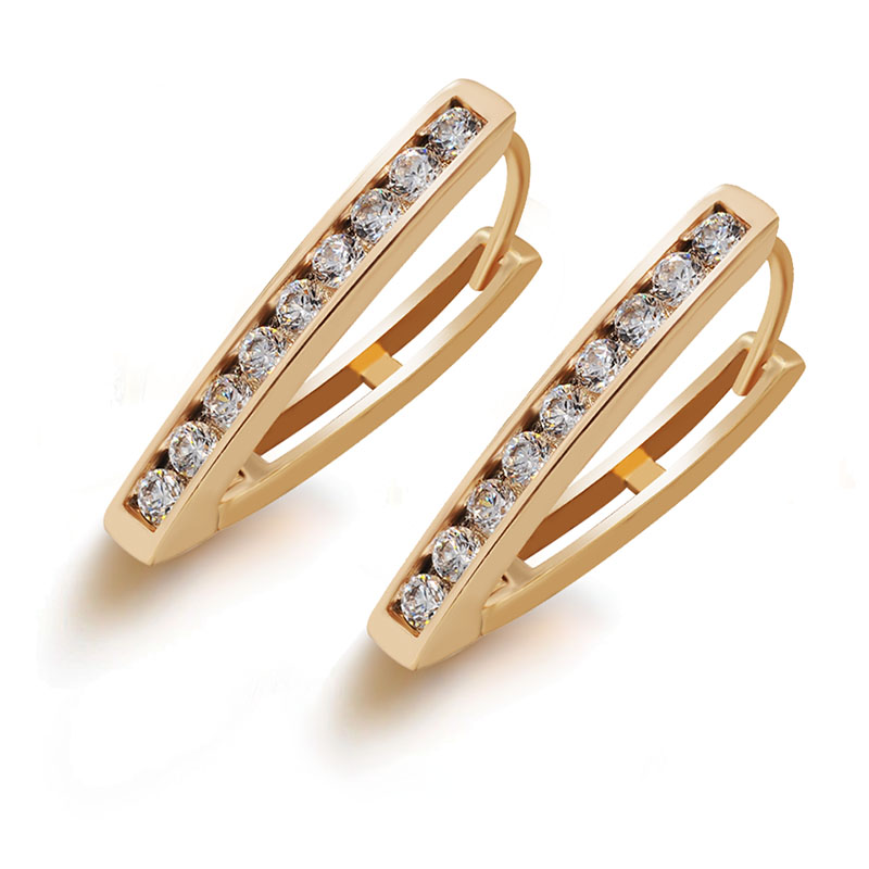 MxGxFam Triangle Hoop Earrings 18 k yellow Gold Color for Women 2018 New AAA+ Cubic Zircon