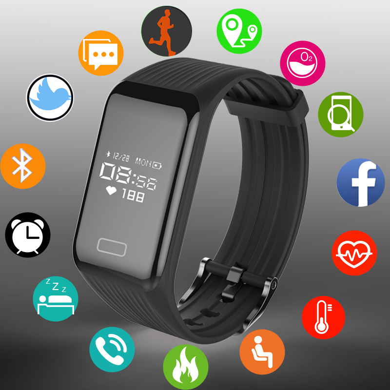 BANGWEI IP67 Smart Watch Fitness Bracelet Heart Rate Monitor Blood Pressure Band Pedometer Bluetooth for IOS Android Phone+Box