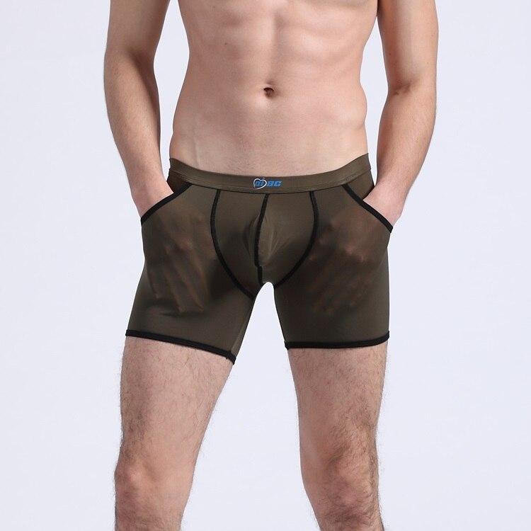 NEW men's panties translucent soft male one piece bag viscose long boxer pouch men's underwear