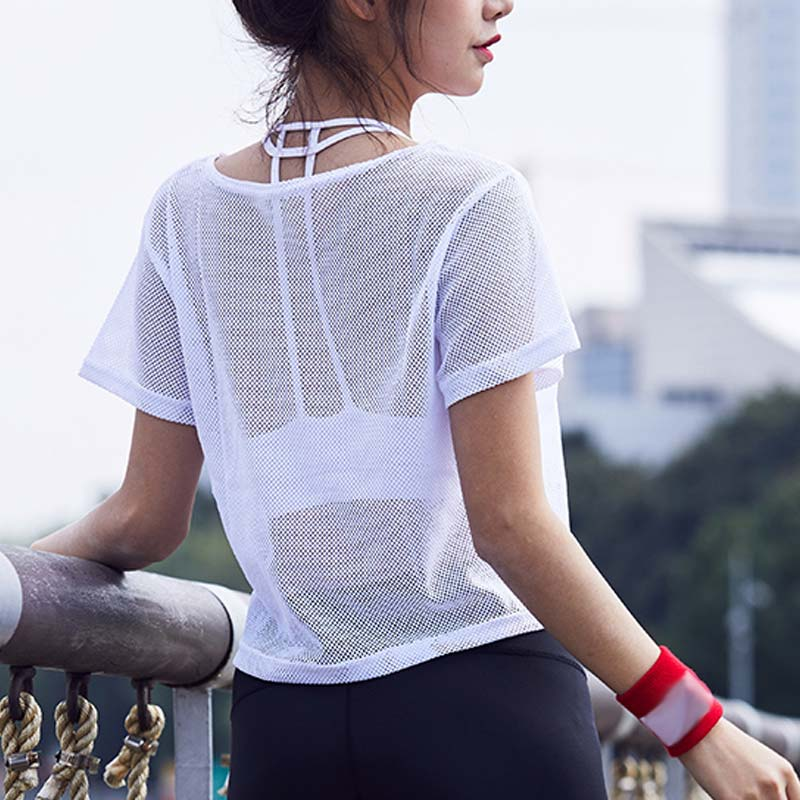 Summer Women Short Sleeve Mesh Hollow Out Yoga T-shirt Quick Drying Jogging Sports Tops ZJ55