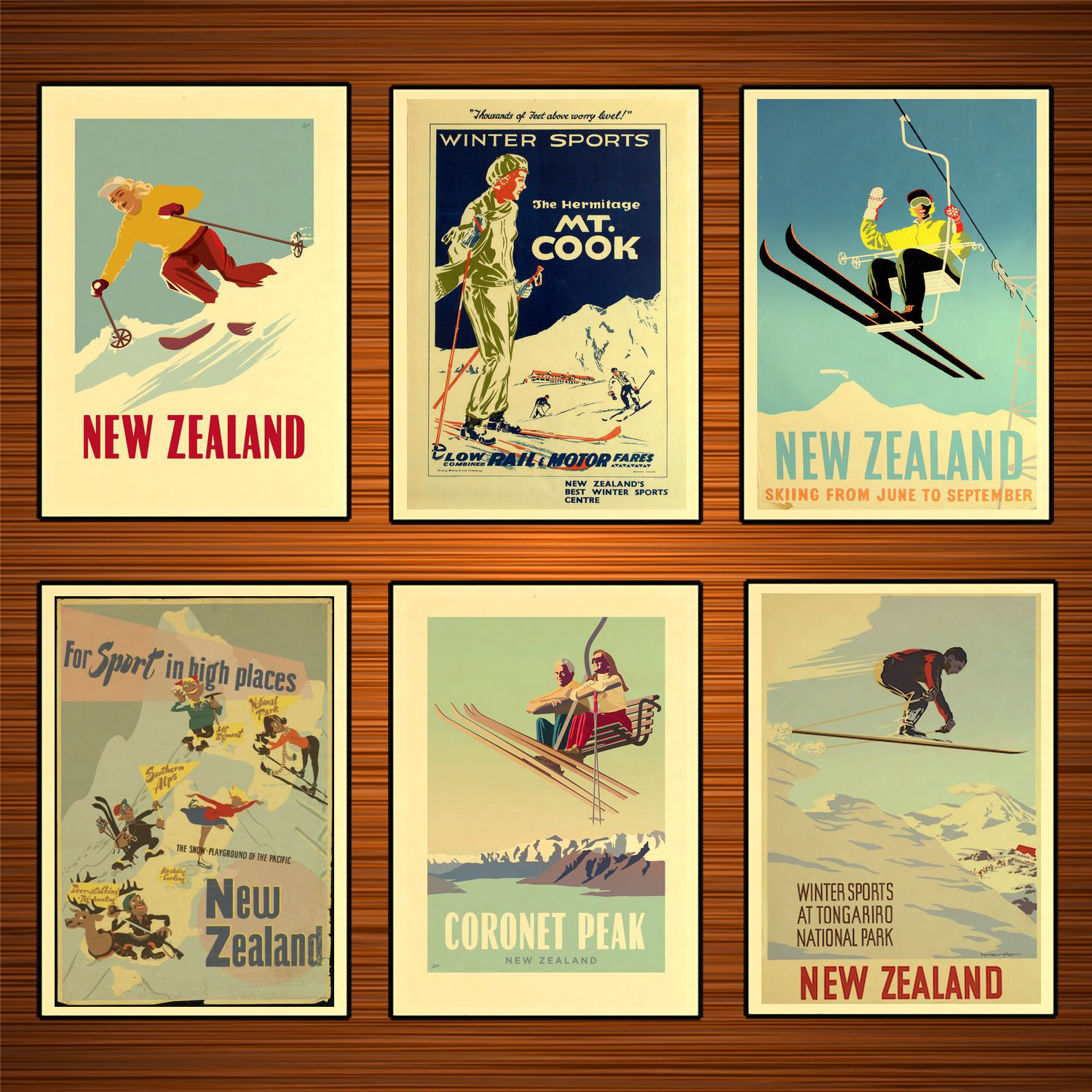 New Zealand NZ For Sport in High Places Skiing Travel Classic Wall Stickers Canvas Painting Vintage Poster Home Bar Decor Gift image