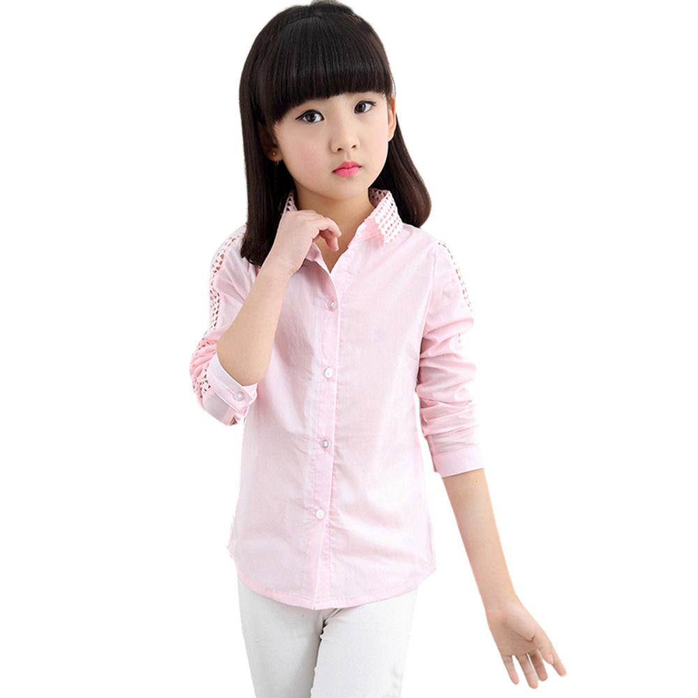 School Girl Blouse For Girls Hallow Out Blouse Long Sleeved Children White Pink Costume Kids Shirt Child Clothing For Age 3-12 long sleeves guipure hollow out blouse