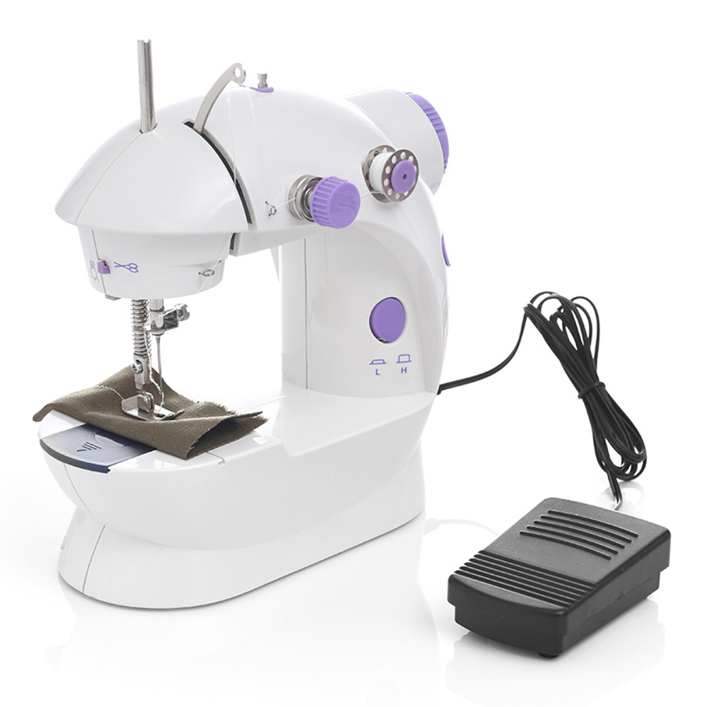 2020 Sewing Machine Mini Portable Household Night Light Foot Pedal Straight Line Hand Table Two Thread Kit Electric 3