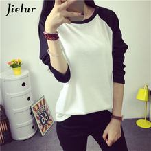 Jielur Korean new Harajuku autumn cotton loose t shirt women tops M XXL spell color long