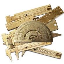 1 stücke Vintage Messing Lineal Werkzeuge Metall Kupfer Lineal Winkelmesser Studenten Zeichnung Herrscher Schiebe Herrscher Gauge Schule Mess Werkzeuge