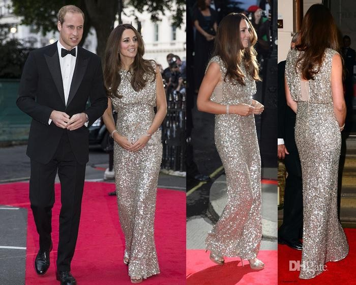 Sparkling Kate Middleton dresses red carpet Gowns Silver Sequined ... a768afc4796e