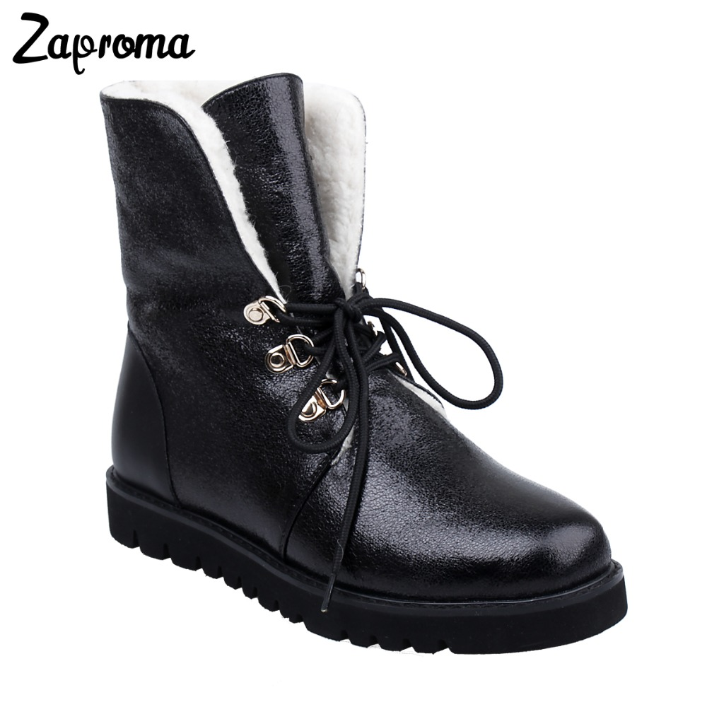 Women Ankle Snow Boots Female Med Heel Platform Winter Boots Warm Plush Insole High Quality Botas Mujer Lace-Up Shoes new women s winter snow boots round head anterior lace up platform botas plush ankle boots women cotton shoes botines mujer 2018