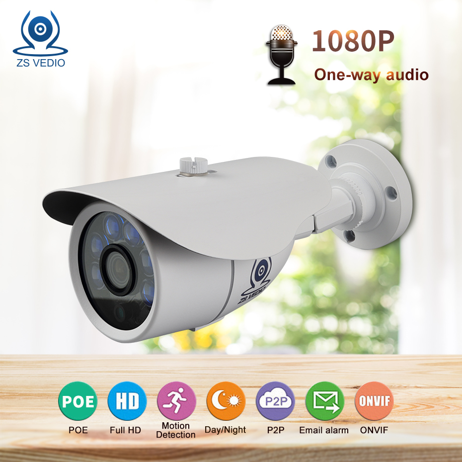 ZSVEDIO Surveillance Cameras <font><b>ip</b></font> camera 1080P <font><b>Sony</b></font> <font><b>IMX323</b></font> Video Security Cam CCTV Bule LEDs Night Vision 30M Metal Case Outdoor image