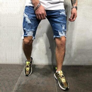 dfec94bd2 2019 de moda de verano Casual para Hombre Pantalones cortos de corte Slim  agujero Jean Pantalones