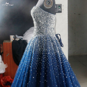 Image 4 - RSE197 Yiaibridal Elegant Bling Bling Silver Beading Readt To Ship Stock Dress Long Royal Blue Prom Dress
