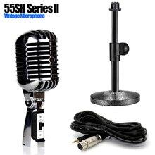 Soporte de micrófono con cable Jack de 3,5mm de mesa de Metal soporte de micrófono profesional clásico dinámico Vintage estilo Retro Mike 55SH Serie ll