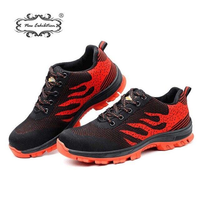 Yeni Sergi Erkek güvenlik ayakkabıları dokuma nefes örgü Rahat Bahar Açık Sneaker Delinme Dayanıklı Ayakkabı Kayma Dayanıklı tenis