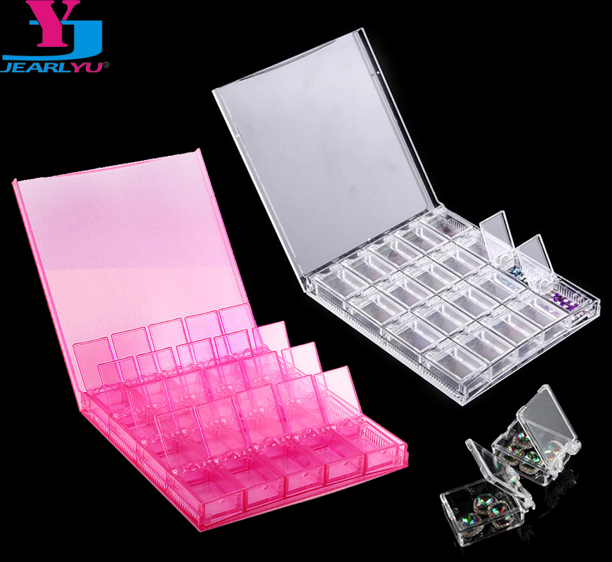 20 Grids Acrylic Nail Tools Storage Box Powder Paillette