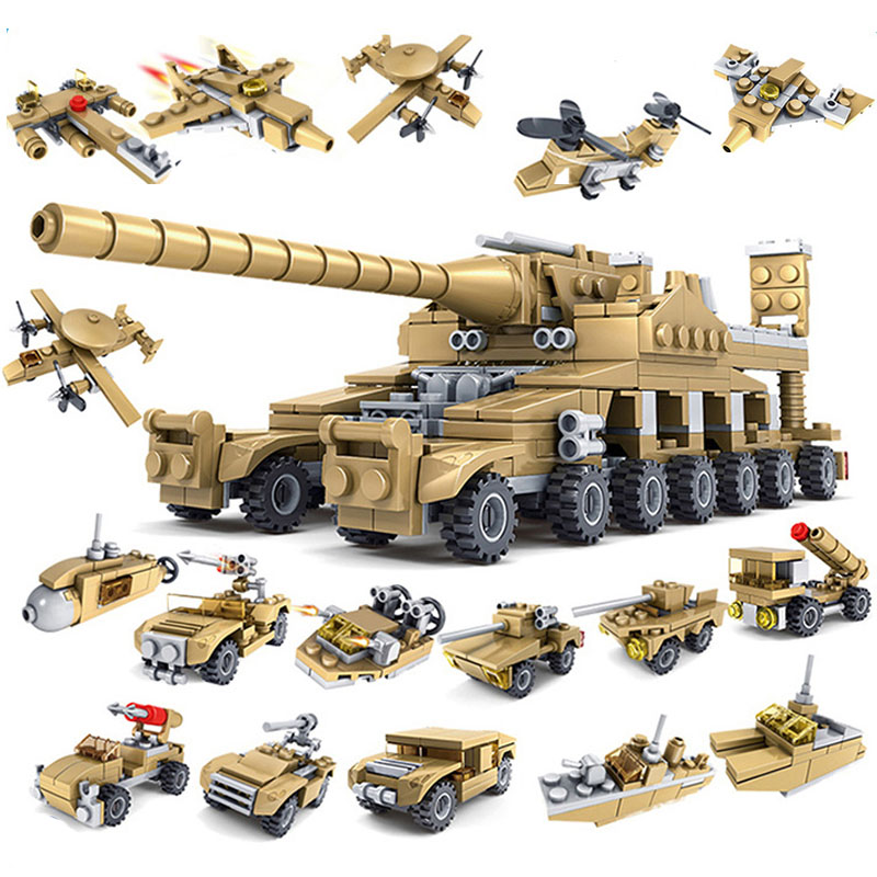 16 In 1 Army Tank Building Blocks 544PCS Sets Military Vehicles Compatible Toys City  Weapons Bricks Toys For Children Hobby