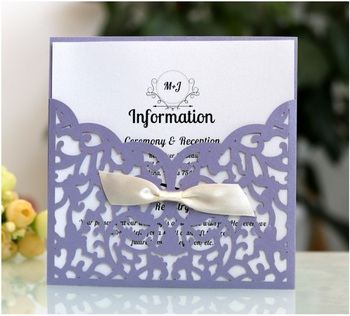 50pcs Laser Cut Wedding Invitations Card Lace Business Birthday Wish Thank you  Greeting Cards with envelope 4 Colors