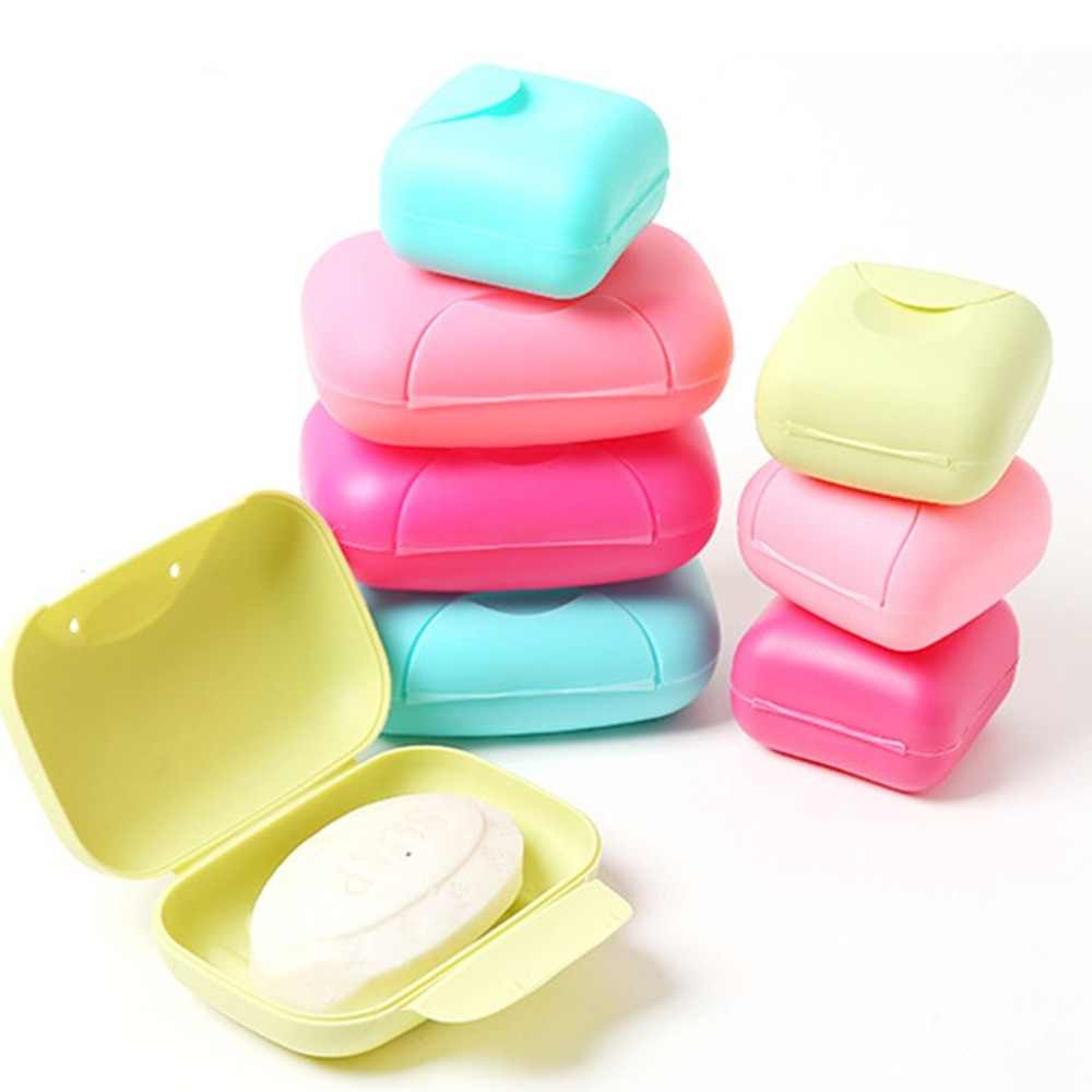 Cukierki kolor podróży zamek Seal mydło pudełko z tworzywa sztucznego przenośna toaleta pojemniki na mydło przypadku uchwyt z pokrywką uszczelniającą łazienka dostawy do domu