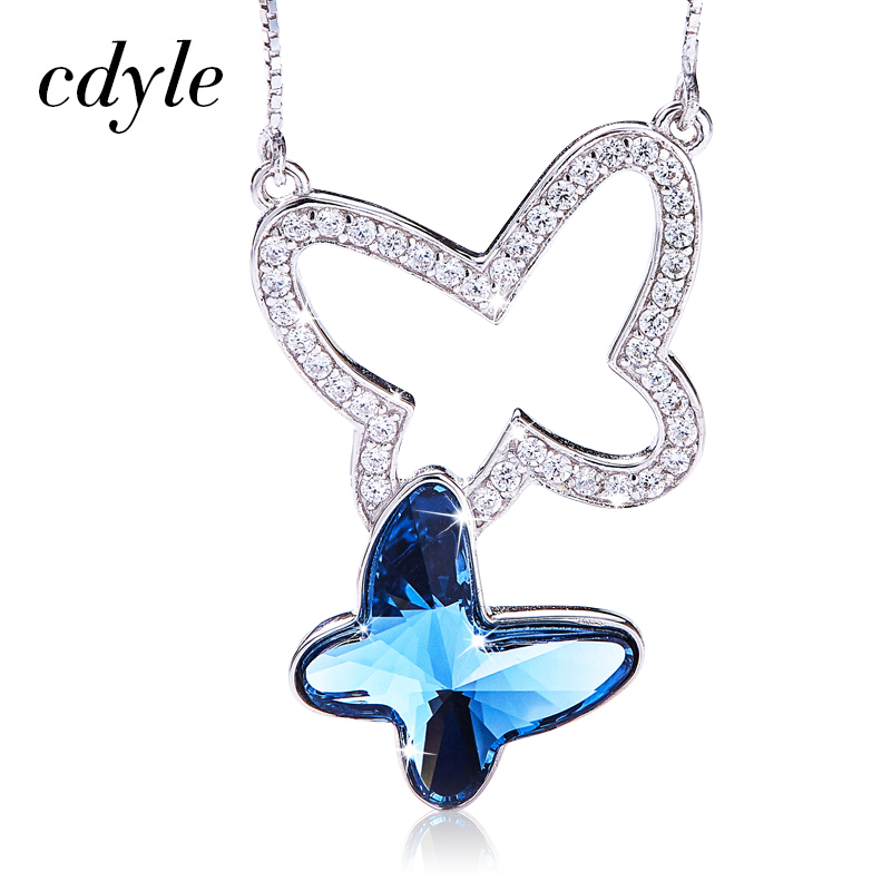 Cdyle Embellished with crystals Pendant 925 Sterling Silver Fashion Jewelry Butterfly Shape Austrian Rhinestone