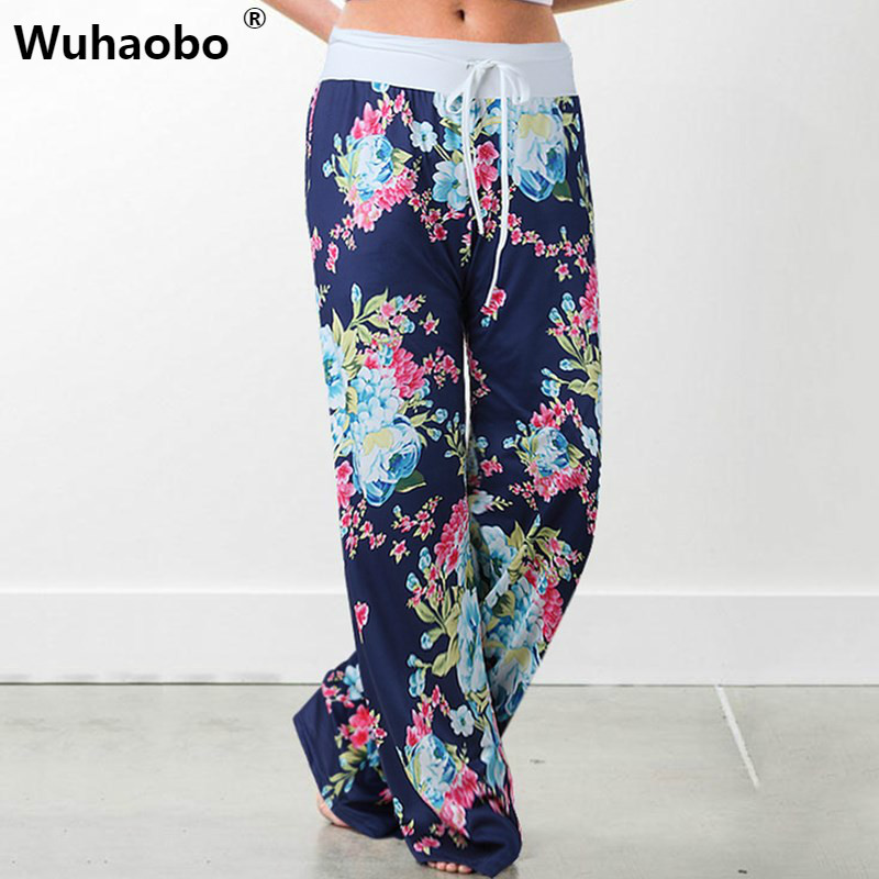 Wuhaobo Causal Women Summer Flower Print   Pants   2019 Drawstring   Wide     Leg     Pants   Loose Straight Trousers Long Female Trousers
