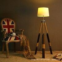 Vintage Retro Wood Fabric Led E27 Floor Lamp for Living Room Bedroom Restaurant 3 Legs Wood Floor Lamp 90 265v 1127
