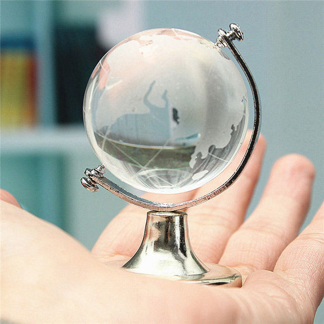 HOT SALE Crystal Glass Frosted World Globe Stand Paperweight Home Desk Wedding Decorate 4