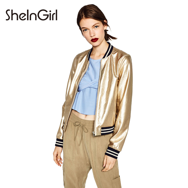 SheInGirl Punk Women Jacket Coat Gold Pu Patchwork Basic Jackets Slim Casual Bombers Jacket Double Pockets Zipper female jacket