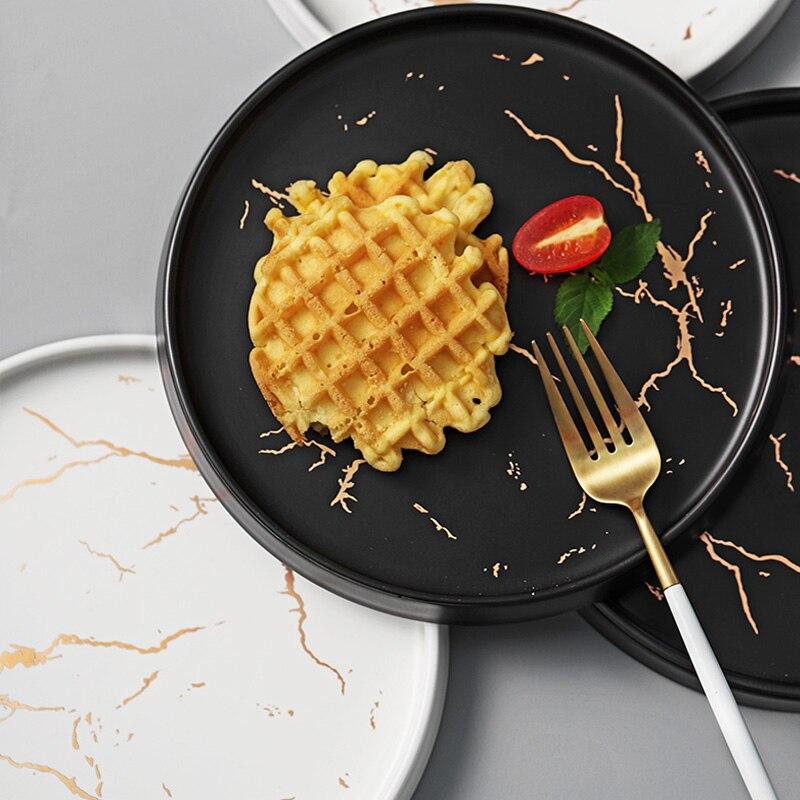 Vaisselle en céramique incrustation d'or | Vaisselle, vaisselle en marbre, vaisselle Unique noir et blanc mat, assiette haut de gamme