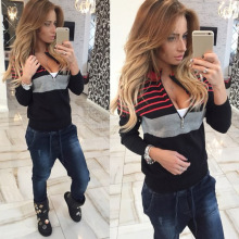 Women Autumn Winter Long Sleeve Zipper Sweater