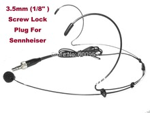 Black Color Dual Hook Head Headset Microphone For SennHei-ser Wireless 3.5mm 1/8 Screw Lock Stereo