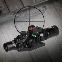 Бесплатная доставка Тактический 1 4x24 IRF прицел + Красный точка зрения + прицел пузырьковый уровень + 30 мм двойной объем крепление OS1 0292