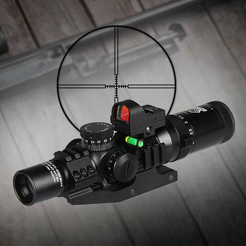 Canis Latrans 1-4x24 IRF Rifle Scope + 2MOA 1X Mini Red Dot Sight+Riflescope Bubble Level+30MM Double Scope Mount OS1-0292