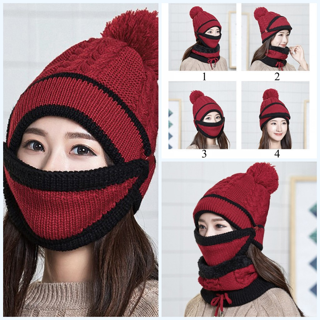 1PC Female Winter Beanies Knitted Thickened Hat With Warm Mask And Neck Scarf Driver Windstop Sets For Women Girls 4 Colors