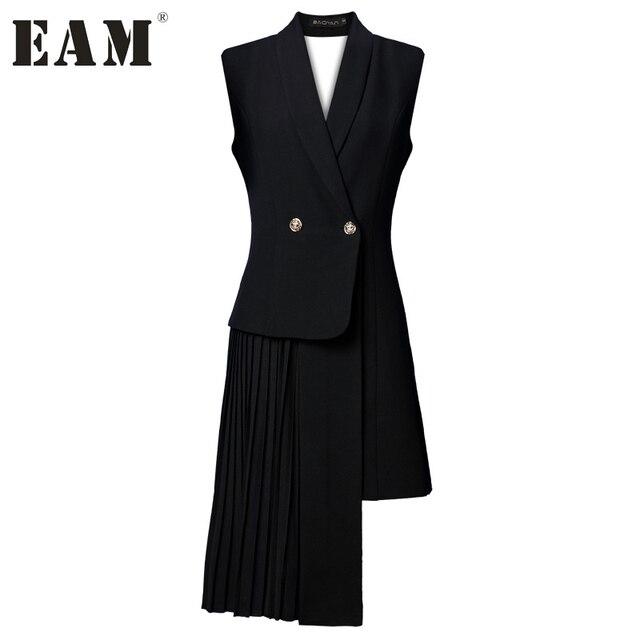 [EAM] Новинка 2017 лето-осень одноцветное черного цвета без рукавов Асимметричная костюм V-вырез горловины жилет женская мода прилив J47801S