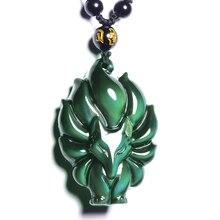 Ожерелье с кулоном с девятью хвостами лисы, натуральный Радужный обсидиановый глаз, животное, лиса, красочная фея, для мужчин и женщин, новое ювелирное изделие, подвеска с чианом
