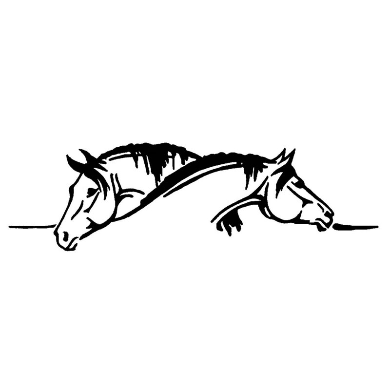26*7.5CM Creative Two Horses Graphical Car Sticker And