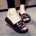 2017 Praia Flip Flops Moda Sólidos Mulheres Sapatos Com Strass Plataforma Sandálias Mulher Verão Flats Tamanho 35-42 k5