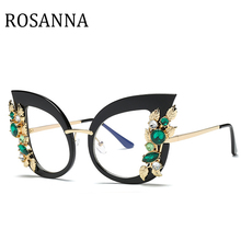 ROSANNA New 2019 Fashion pearl Cat Eye Glasses Frames Brand Design Vintage Eyeglasses Frame Women  Hot Selling Eyewear