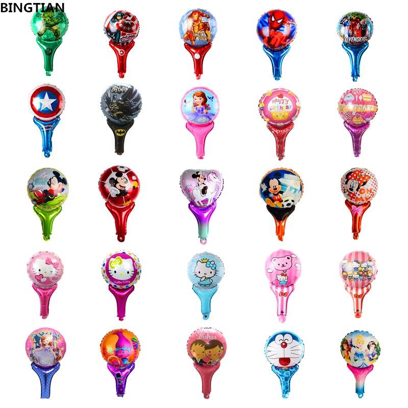 BINGTIAN Superhero Princess Minnie Mickey Cane Cartoon Aluminum Balloon Party Decoration Birthday Balloon Children Gift