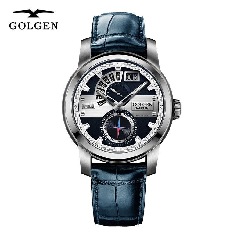 GOLGEN montre décontractée pour homme Quartz 50 M étanche en cuir montre-bracelet hommes mode homme horloge
